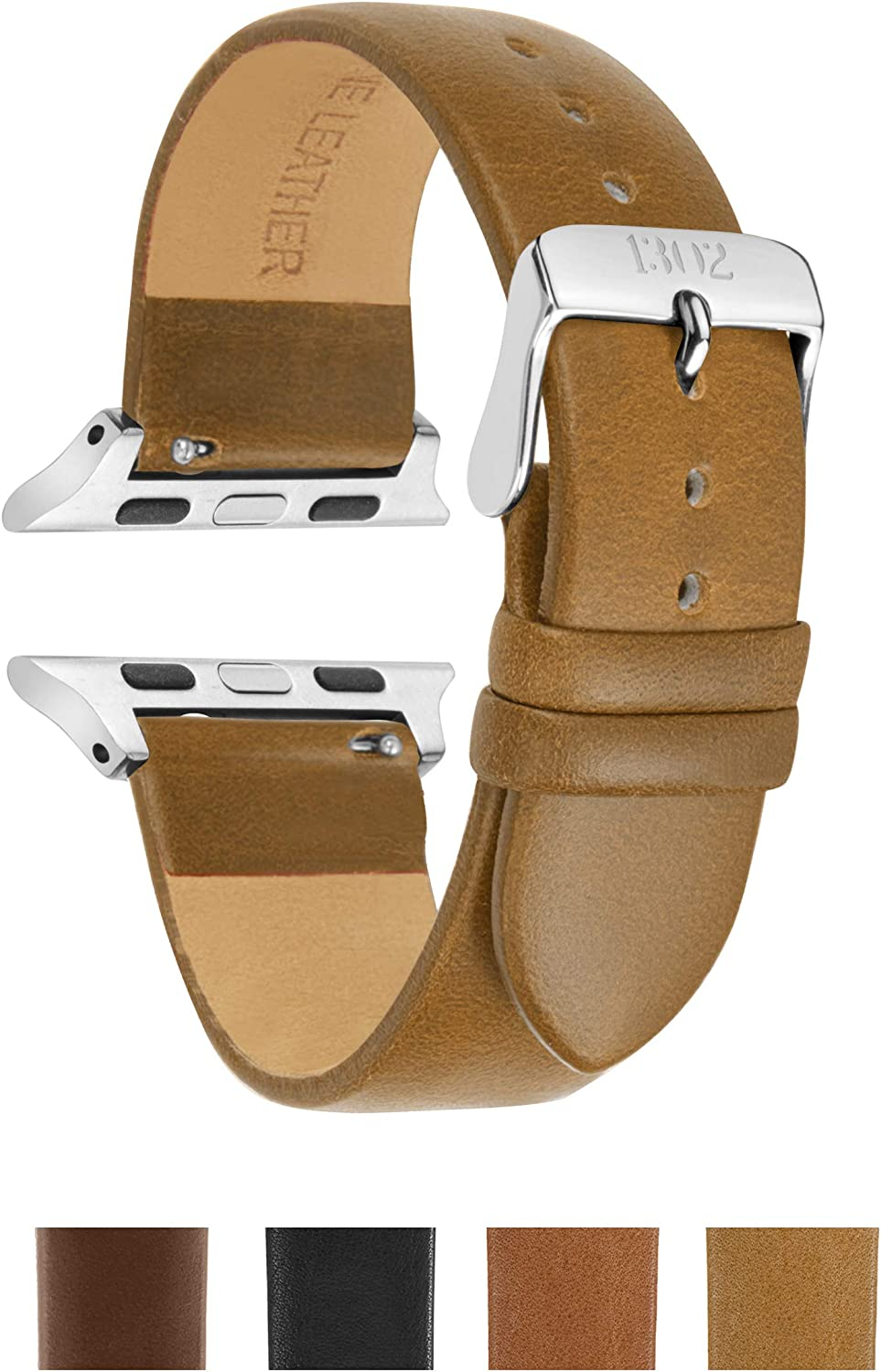 Compatible with Silver Apple Watch Band 38mm - Leather Apple Watch Band 38mm - Leather Apple Watch Band 42mm Men - Leather iwatch Band 38mm - 42mm Apple Watch Band (Beige Vegetable Tanned, 38mm/40mm)