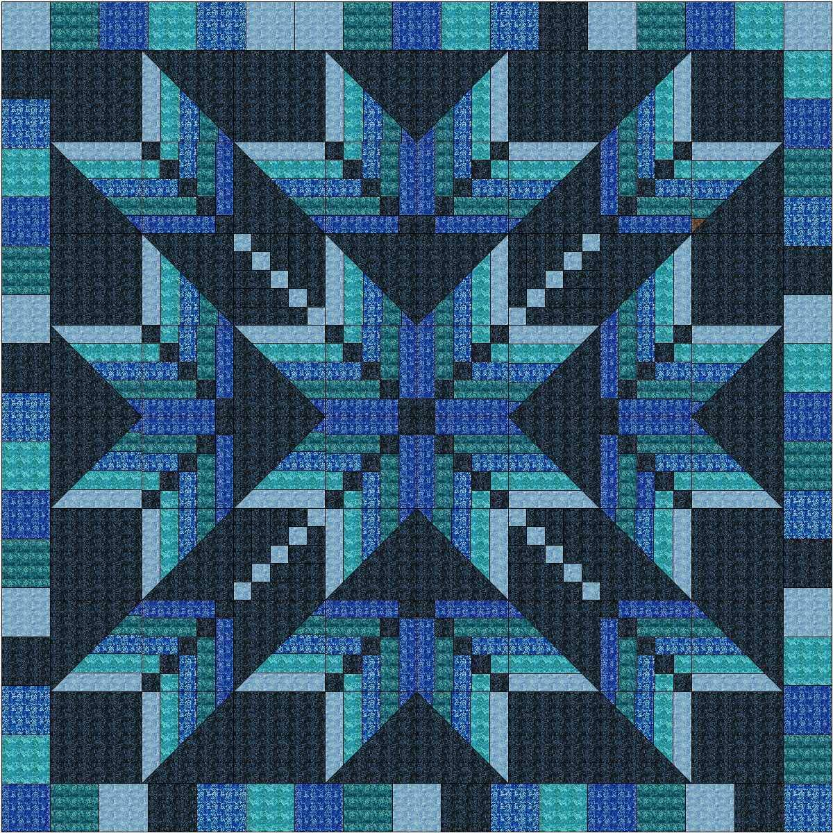 Easy Quilt Kit Exploding Star Blue 3D/Queen by Material Maven