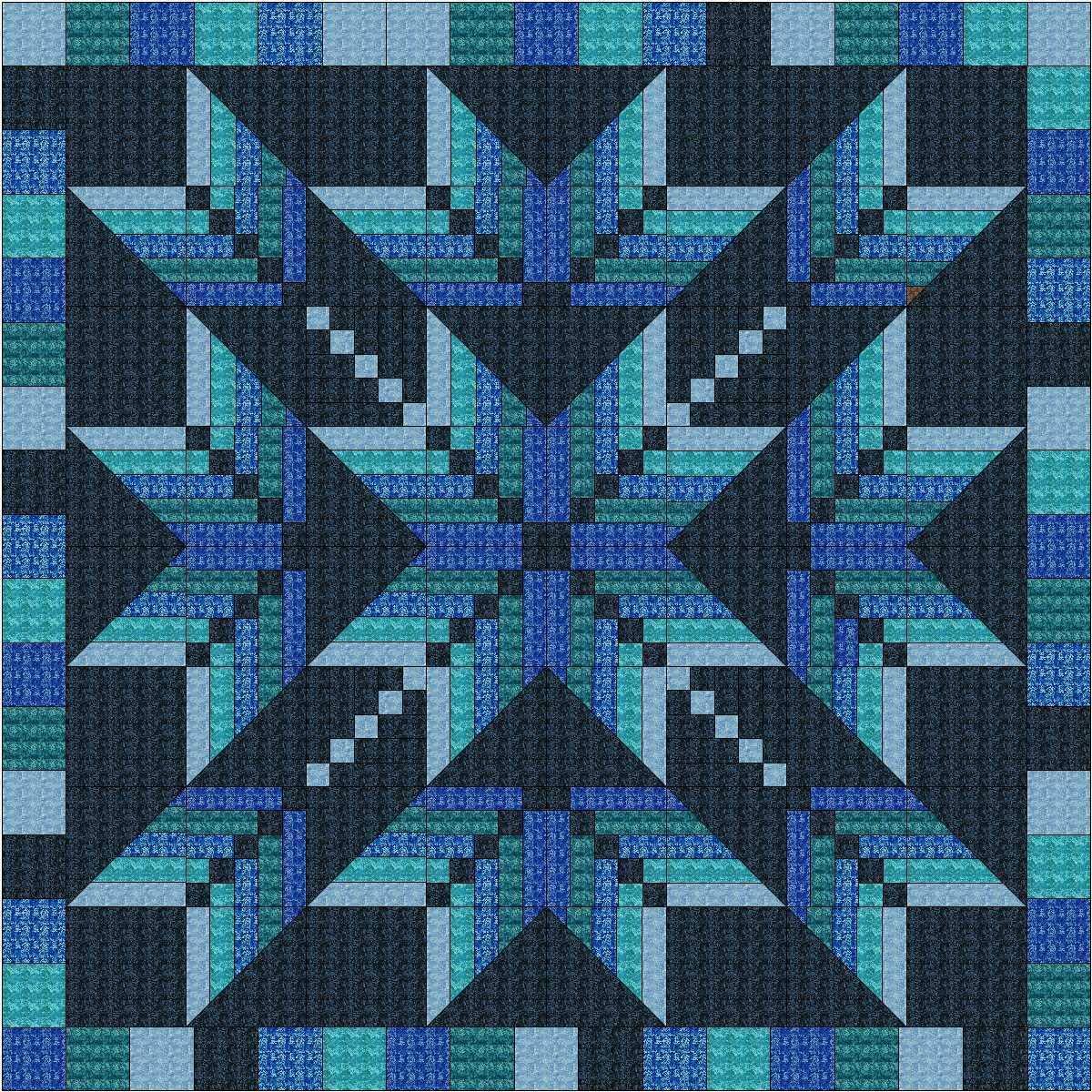 Easy Quilt Kit Exploding Star Blue 3D/Queen