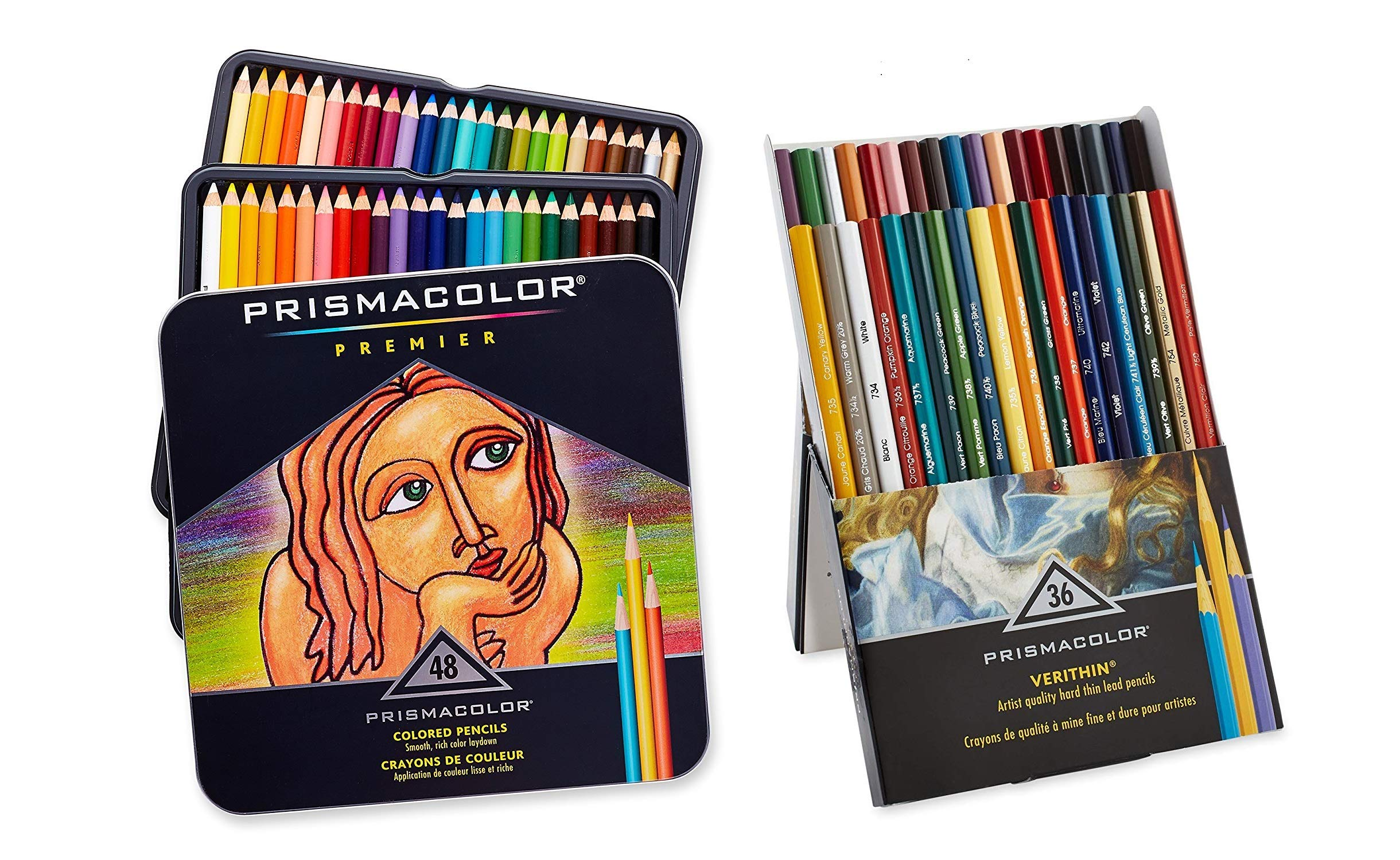 Prismacolor Premier Soft Core Colored Pencils, Set of 48 Assorted Colors (3598T) + Prismacolor Verithin Colored Pencils, Set of 36 Assorted Colors (2428) by Sanford Markers