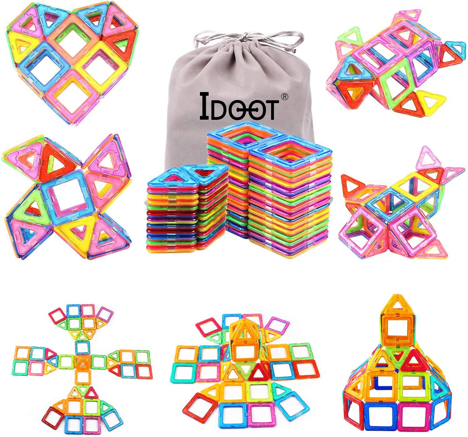 idoot Magnetic Blocks Building Set for Kids  Magnetic Tiles Educational Building Construction Toys for Boys   Girls with Storage Bag - 56Pcs