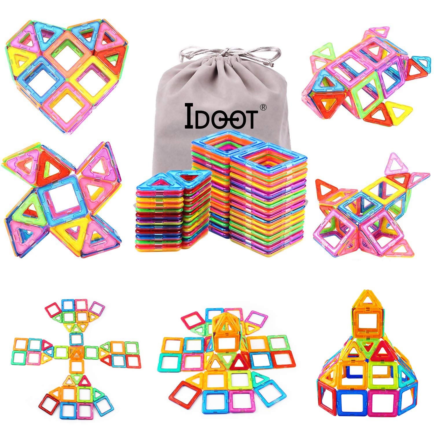 idoot Magnetic Blocks Building Set for Kids, Magnetic Tiles Educational Building Construction Toys for Boys & Girls with Storage Bag – 56Pcs