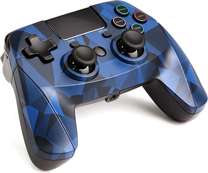 snakebyte Wireless Bluetooth Gamepad-Controller 4 S Blue Camouflage, Compatible with all PS4 Systems