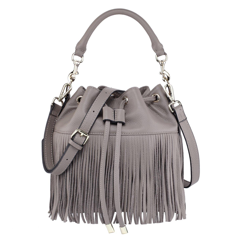 Sunmig Womens Vintage Fringe Tassel Leather Drawstring Bucket Bag Cross-body Shoulder Bag Handbag