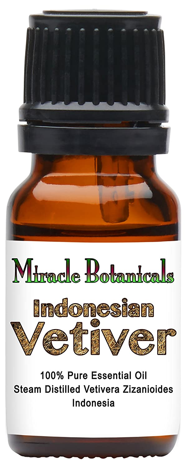 Miracle Botanicals Indonesian Vetiver Essential Oil - 100% Pure Vetivera Zizanioides - Therapeutic Grade - 10ml
