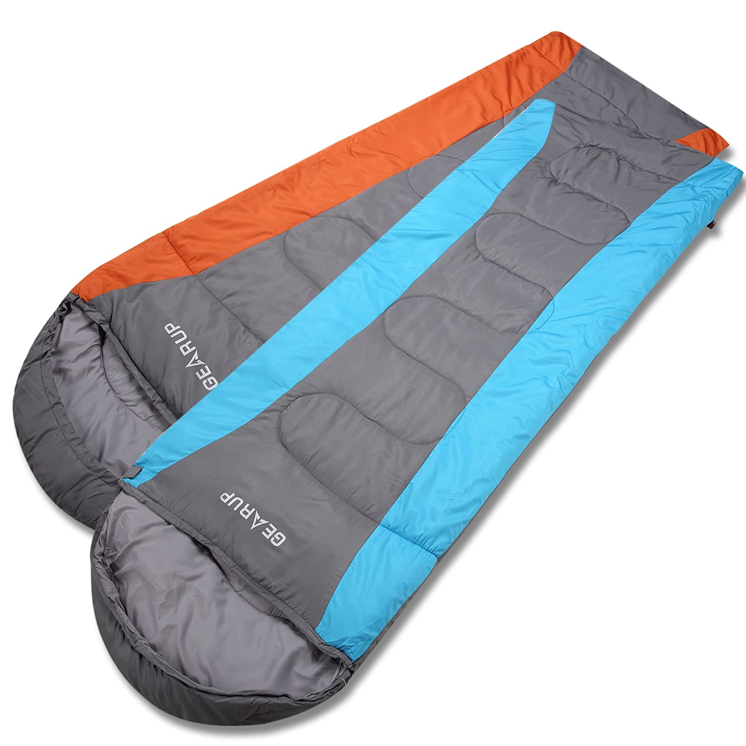 GEARUP Ultralight 50F Sleeping Bag for Spring Summer Camping Hiking with Stuff Sack Teen Sleeping Bag for Boys Girls 74 L 29 W Hood 12 L