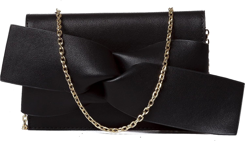 Evening Clutch Messenger Style With Cute Bow Tie Purse Vegan PU Leather Crossbody Shoulder Bag by Handbag Republic