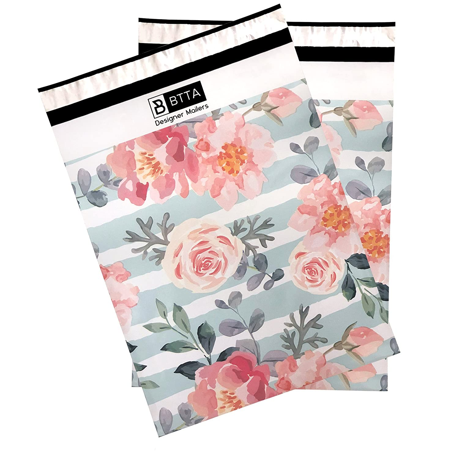 100 Pack 10x13 Pink Stripes and Flowers Poly Mailers Shipping Envelopes Bags with Custom Designer Printed Boutique Pattern and Self Seal Adhesive Strip Large Heavy Duty Waterproof Bulk Combo