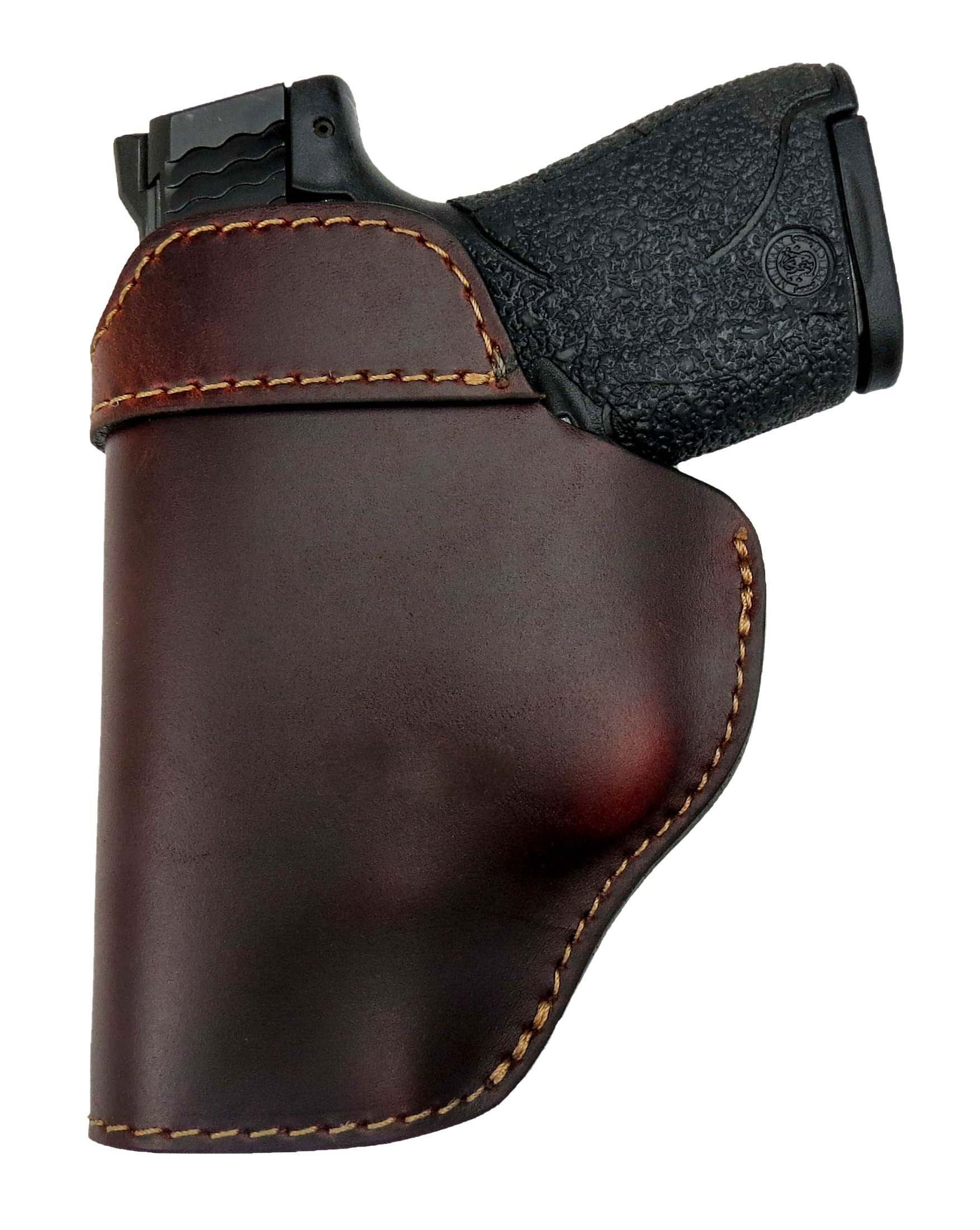 Relentless Tactical The Defender Leather IWB Holster - Made in USA - For S&W M&P Shield - GLOCK 17 19 22 23 32 33/Springfield XD & XDS/Plus All Similar Sized Handguns – Brown – Right Handed by Relentless Tactical (Image #4)
