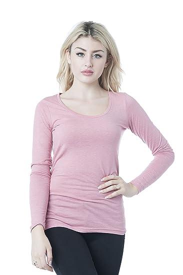 03a551706d Hollywood Star Fashion Women s Long Sleeve Crewneck Plain Top (Small