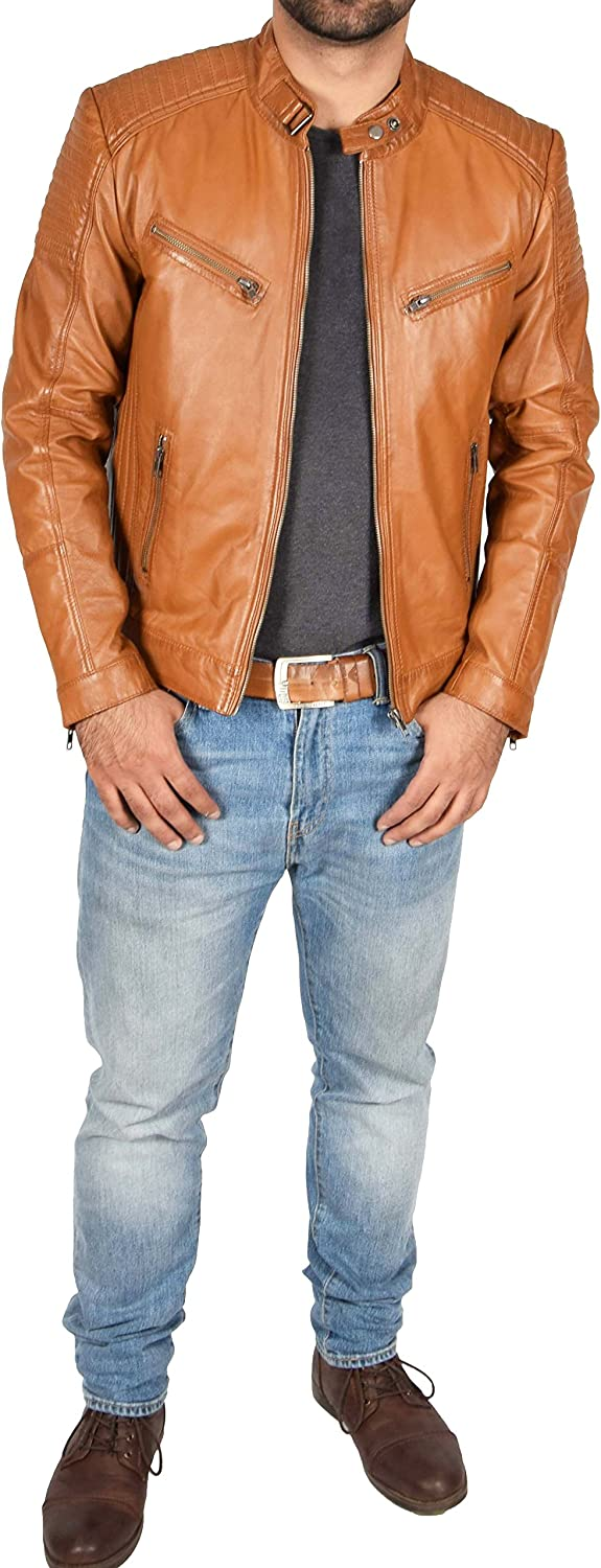 Mens Real Tan Leather Biker Fitted Jacket New Quilted Design Coat Steven