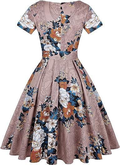 stile vintage con maniche corte Vestito da donna anni 50 MINTLIMIT stile retr/ò Rockabilly