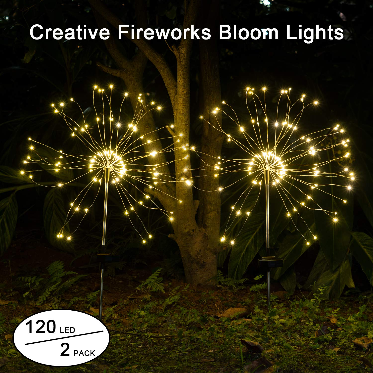 Solar Garden Lights Decorative Outdoor IPX7 Waterproof Solar 120LED Powered 40Copper Wires String Landscape Light DIY Flowers Fireworks Trees for Walkway Patio Lawn Backyard,Christmas Party Decor