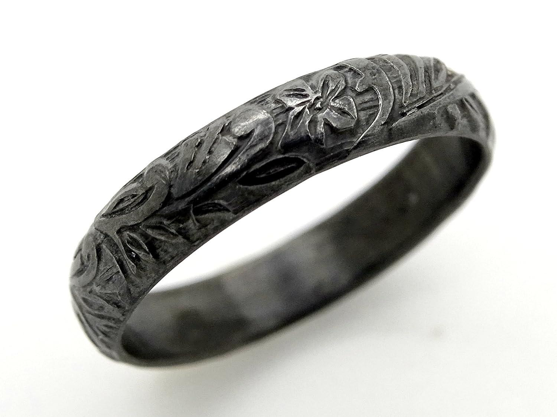 Medieval Wedding Band Silver Flower Ring Pagan Wedding Ring Women Eternity Ring Flower Promise Ring Women Leaf Ring Silver Wedding Band