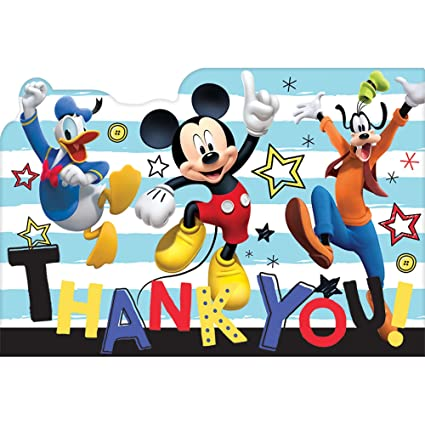 Amazon Com Amscan Mickey Mouse Party Supplies On The Go Thank You