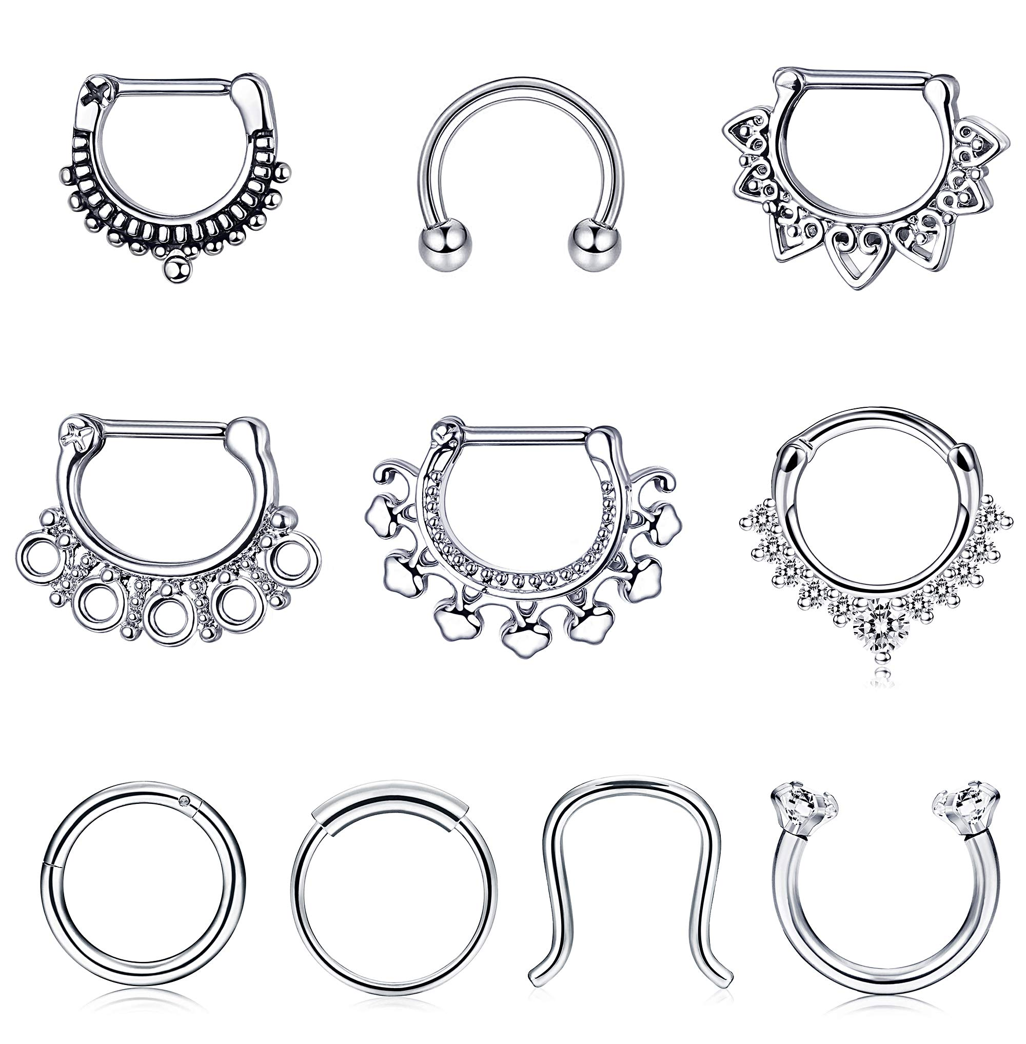 Jstyle 10Pcs 16G Stainless Steel Septum Clicker Nose Rings Hoop Horseshoe Cartilage Tragus Septum Ring Body Piercing Jewelry by Jstyle