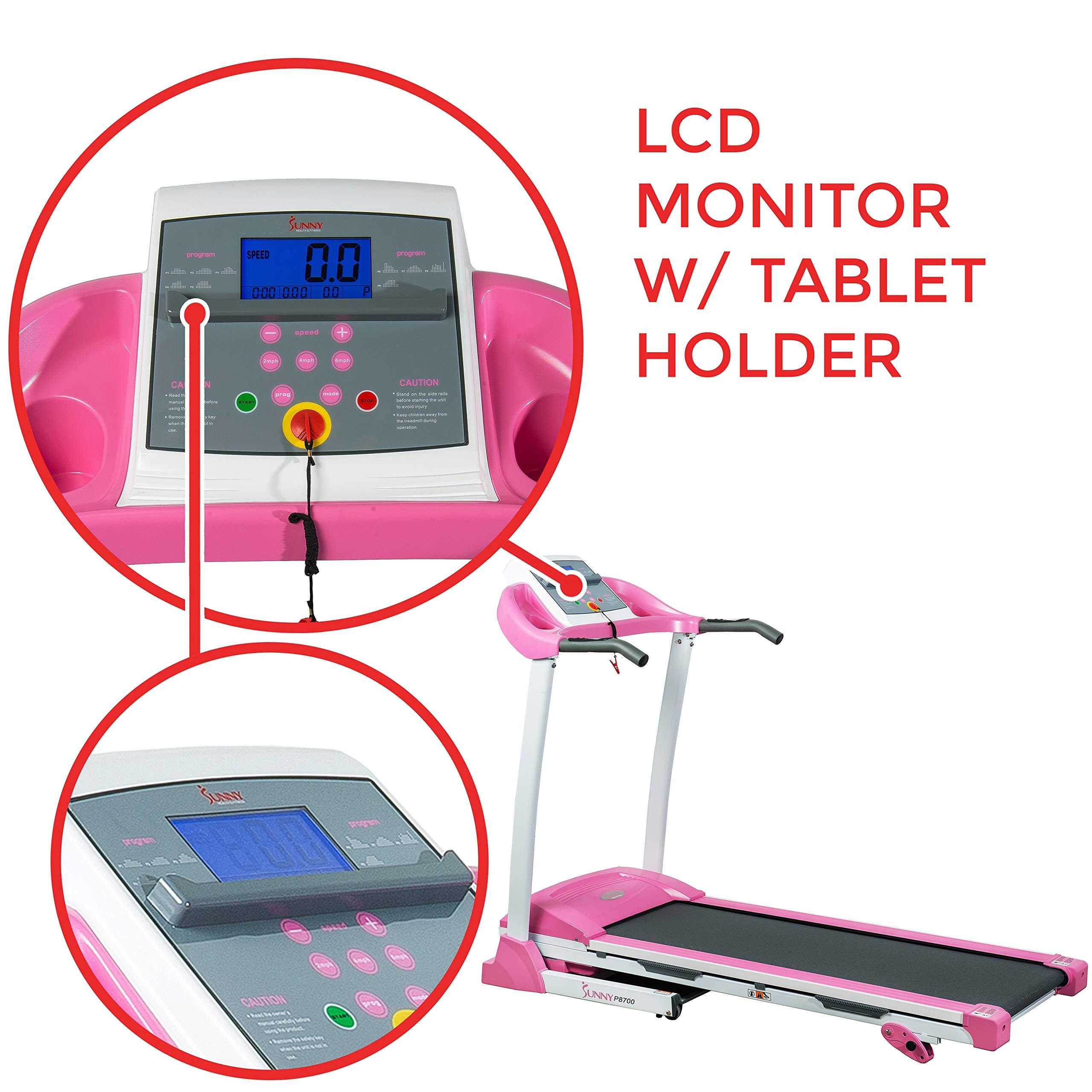 Sunny Health & Fitness P8700 Pink Treadmill by Sunny Health & Fitness (Image #5)