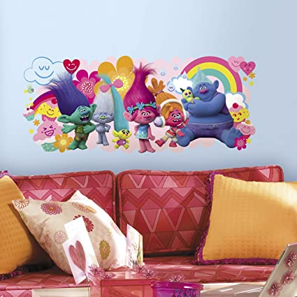 Roommates rmk3171gm trolls movie peel stick giant wall decals