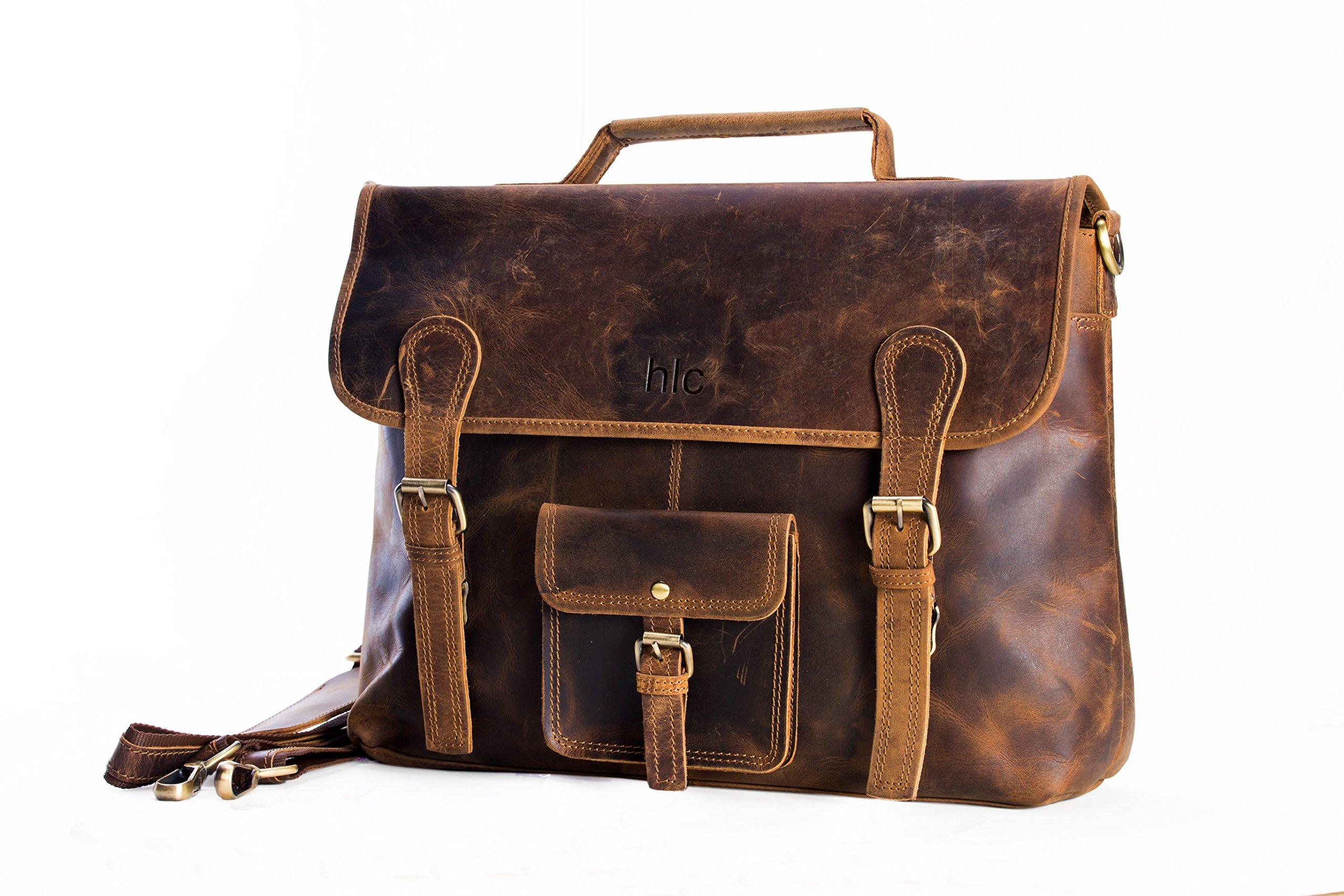 hlc 15'' crazy horse leather messenger satchel unisex laptop briefcase bag for men and women