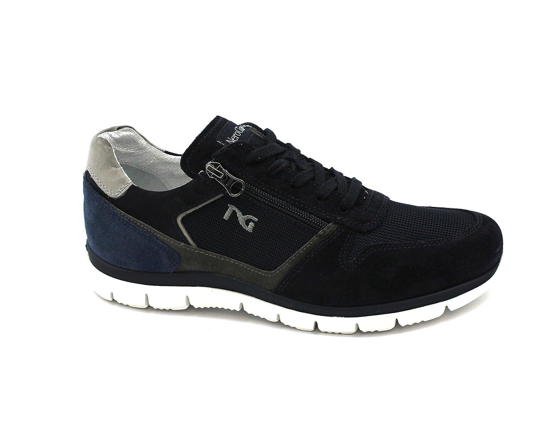 Negro Jardines 00350 Hombre Cordones de Calzado Deportivo de Color Azul Cuero de Ante Postal 44 EU|Blu