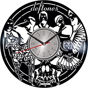 TopVinylShop Deftones Vinyl Wall Design Poster Clock - Home Decor Idea for Him Her Birthday Christmas Anniversary - Themed Clock for Music Lovers Fans - Kids Living Room Kitchen Wall Art - 12 Inches