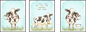 Silly Goose Gifts I Will Love You Till The Cows Come Home Art Print Watercolor Design Wall Decor Set (Neutral)