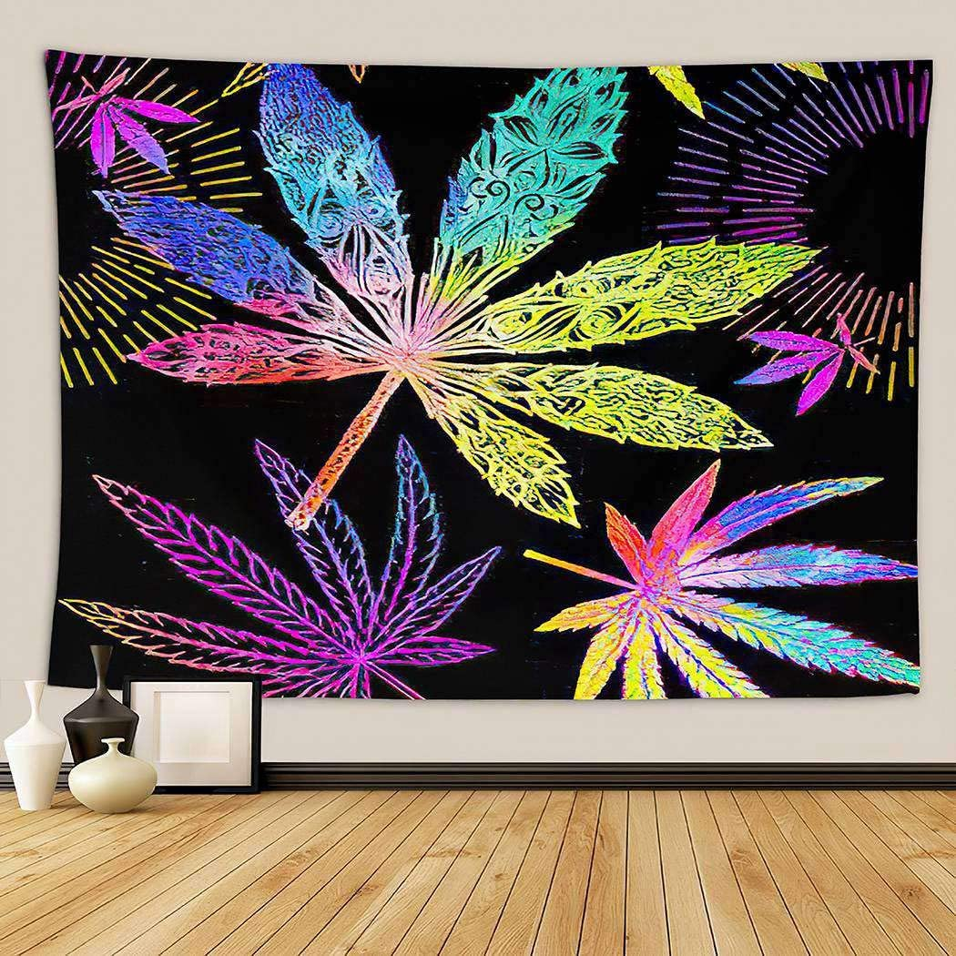 Cannabis Leaf Psychedelic Tapestry,Wall Hanging Mass Wall Tapestry for Bedrooms Living Room Blanket Wall Decor Dorm,Cannabis Leaves in Neon Fluor Cannabis Cbd Drug Farm Fluorescent,60x80 Inch