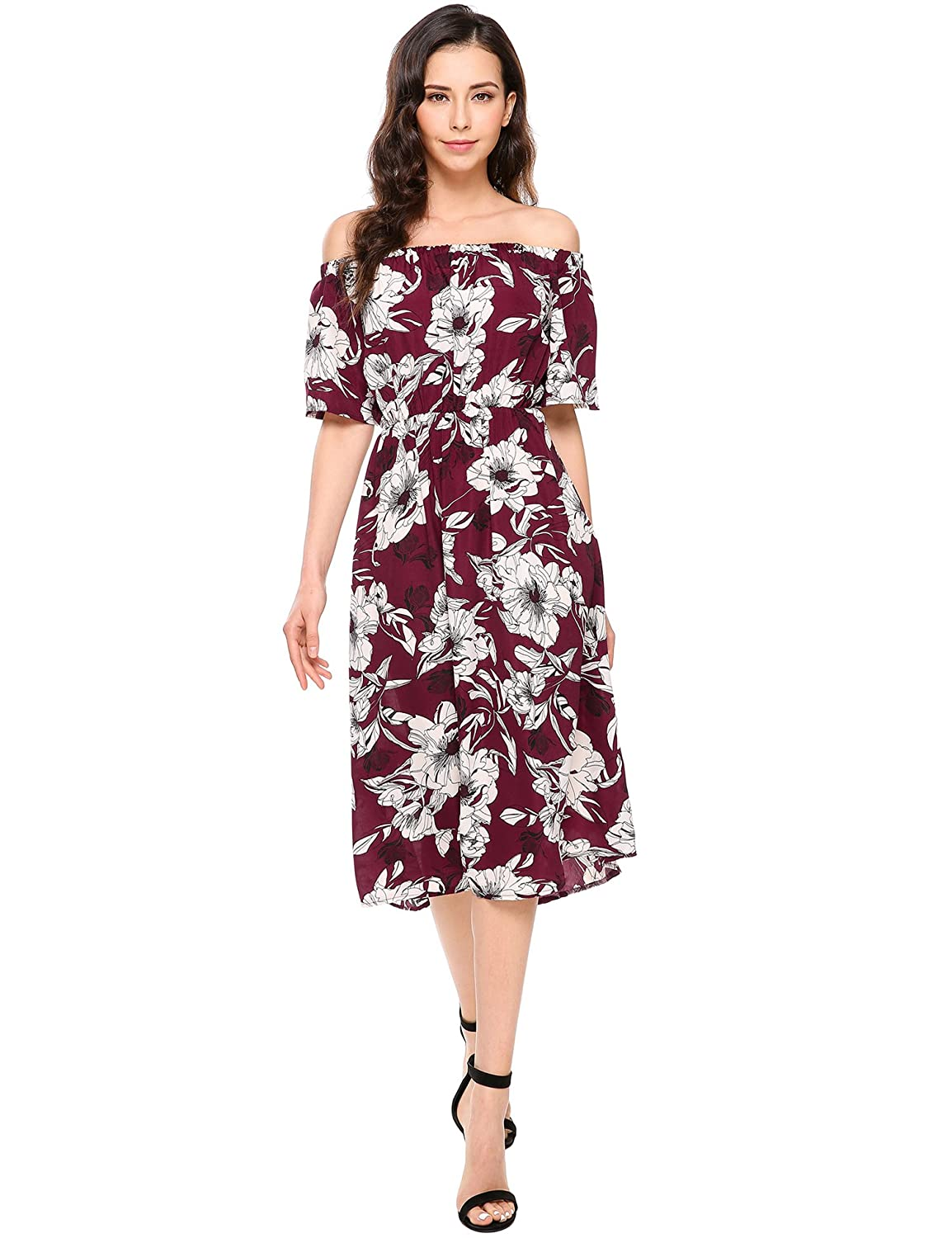 a7b4895b8a47 Meaneor Women s Casual Off Shoulder Short Sleeve Floral Pleated Ruffle Maxi  Dress at Amazon Women s Clothing store