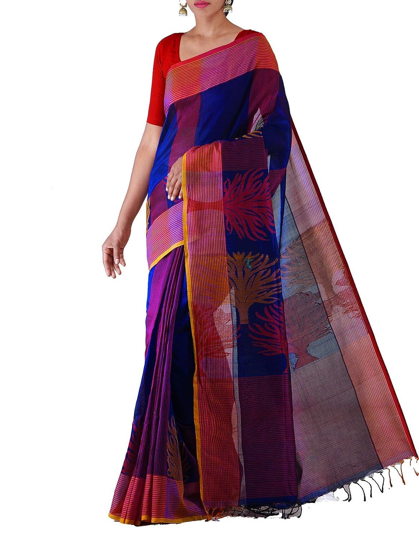 Unnati Silks Women Blue Pure Handloom Uppada Silk by Cotton Saree at Rs.2500