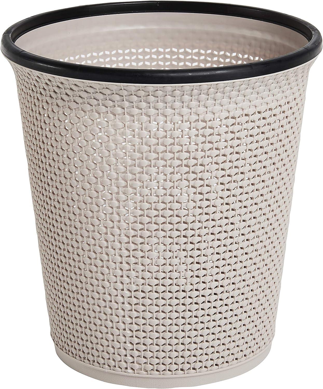 Rattan-Stil mit modernem Look Zuvo Papierkorb und M/ülleimer aus Kunststoff Abfalleimer f/ür K/üche Zuhause oder B/üro beige