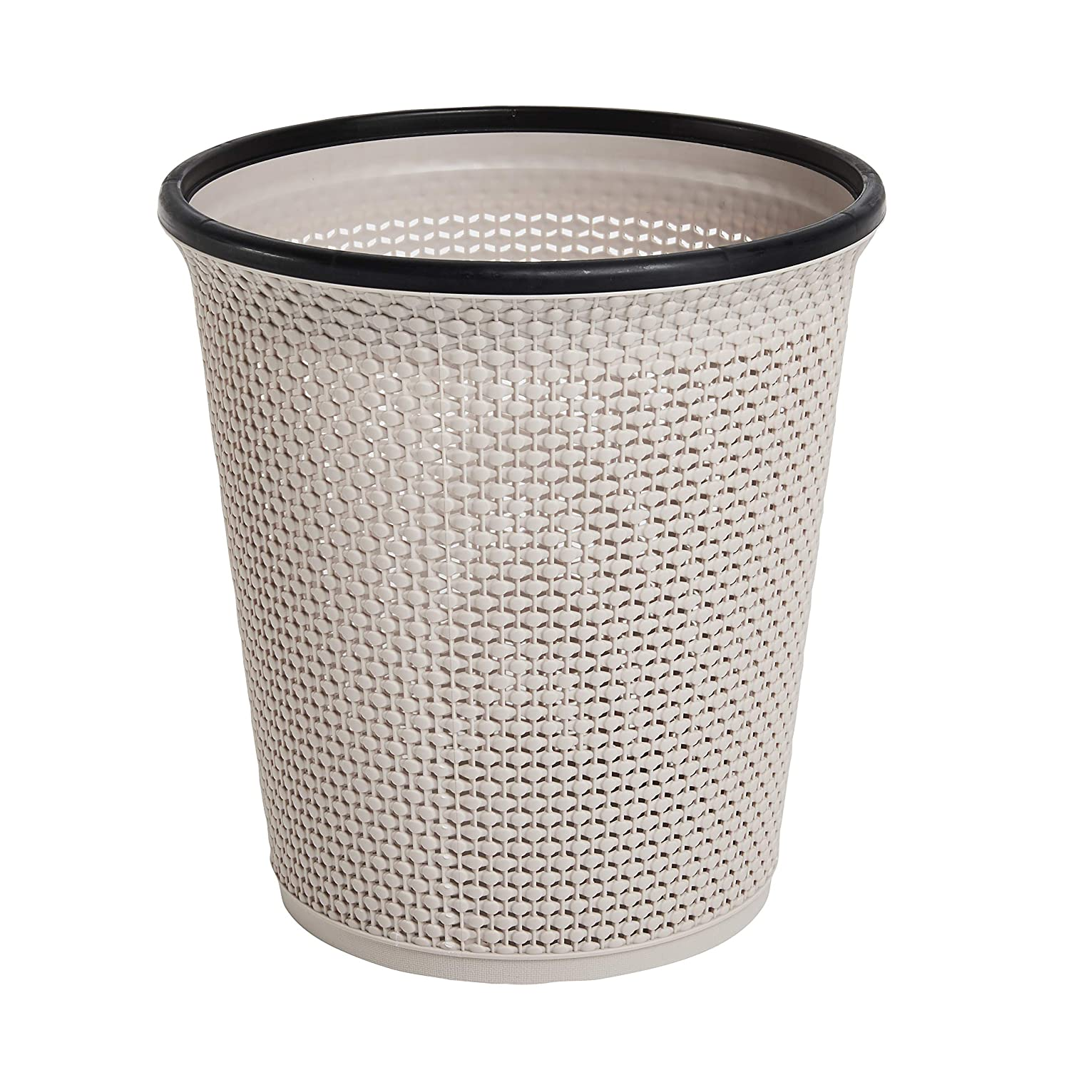 Zuvo Waste Paper Basket and Bin and Trash Bin in Plastic - Rattan Style with a Contemporary Look. Waste Bin for Kitchen, Home or Office 11.5 Inch Tall (Beige)