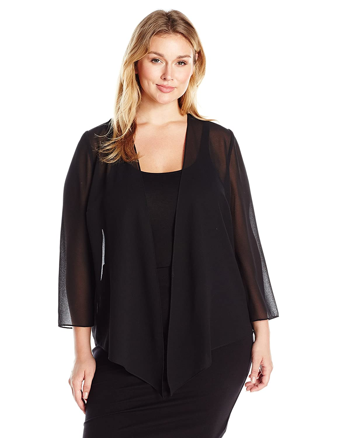 eb820bc847e91 Top1  Alex Evenings Women s Plus Size Georgette Pointed Hem Jacket Cover-Up