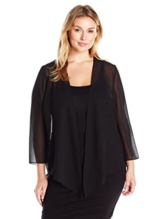 d0a951fda8 Alex Evenings Women s Plus Size Georgette Pointed Hem Jacket Cover-Up at  Amazon Women s Clothing store