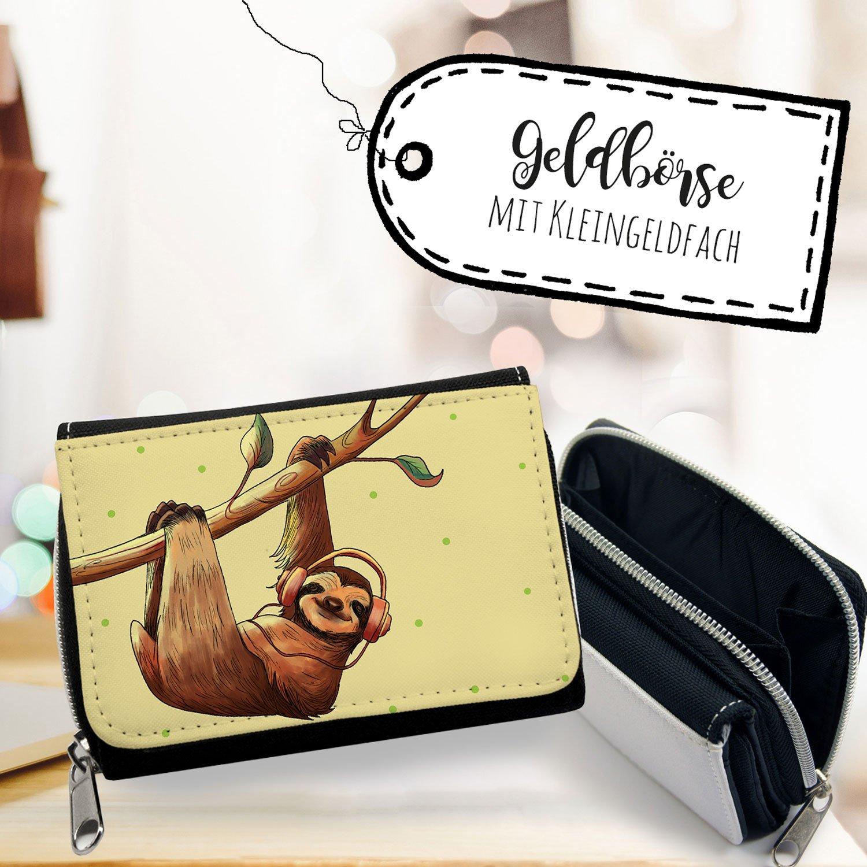 ilka parey wandtattoo-welt® Portemonnaie Faulpelz Portmonee Geldbörse Brieftasche in beige mit Faultier und Kopfhörer gk115