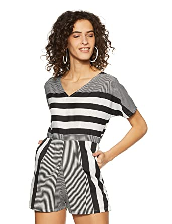 2dcb59d20bf Miss Chase Women s Black and White Striped Playsuit(MCSS18D11-15-98-03 Black