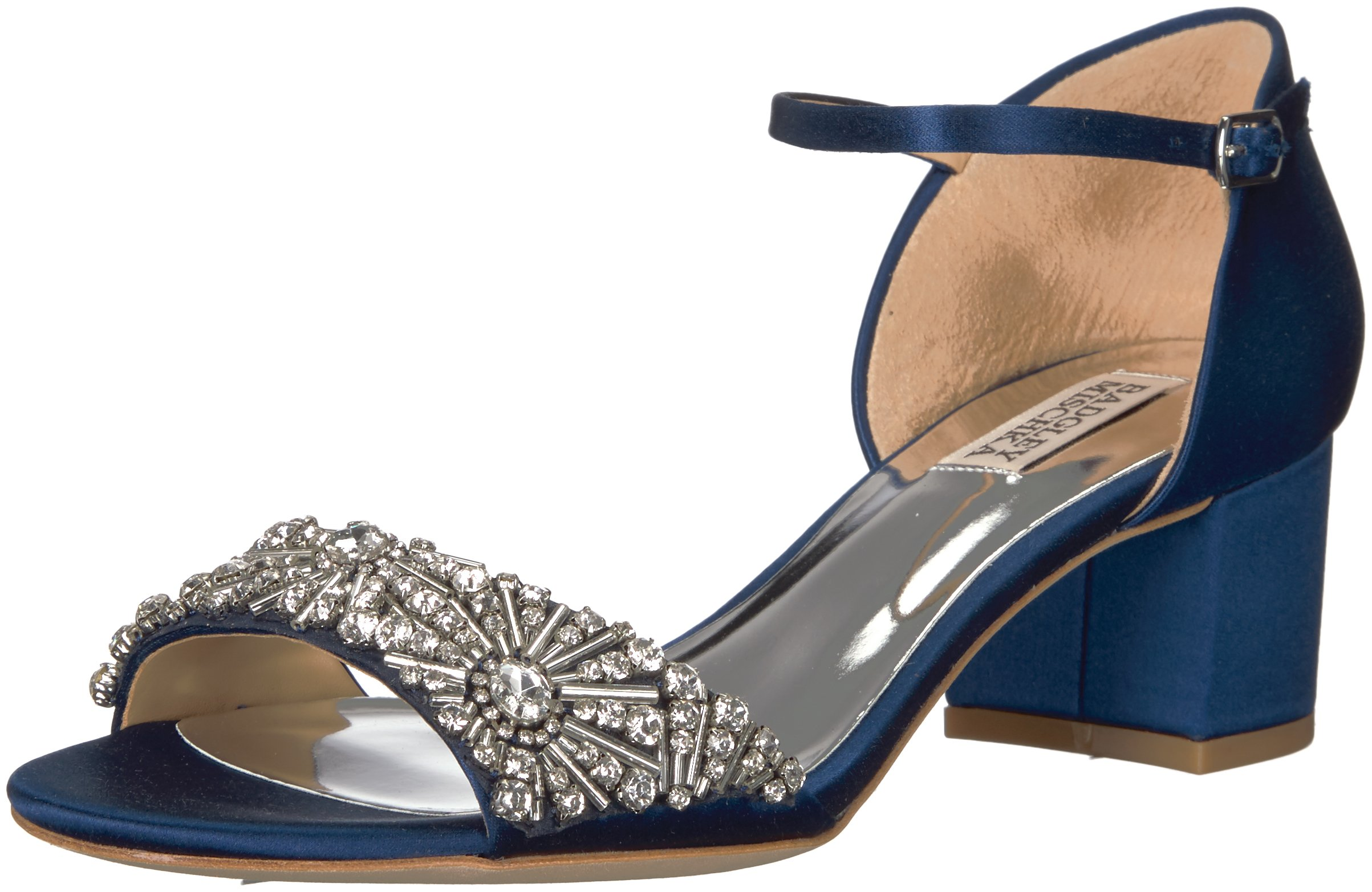 Badgley Mischka Women's Mareva Heeled Sandal, Navy, 9.5 M US