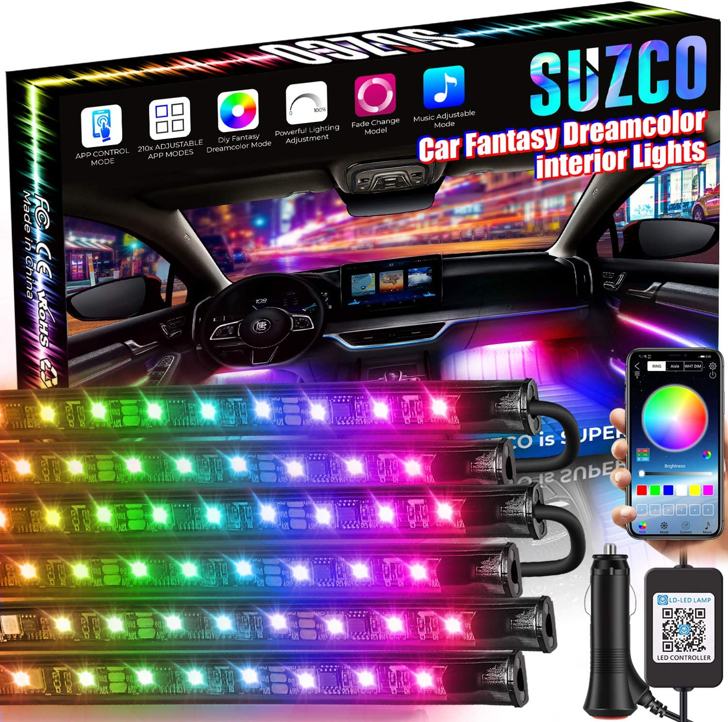 SUZCO 6-Pack Car Rainbow/Dreamcolor Cool Interior Atmosphere Neon Lights, 72-LEDs Car Glow Floor Strip Light Kit with APP Remote, CUSTOM-MADE 4-in-2 Multicolor Under Dash Light 12V with USB Charger