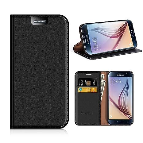 MOBESV Funda Cartera Samsung Galaxy S6, Funda Cuero Movil Samsung S6 Carcasa Case con Billetera/Soporte para Samsung Galaxy S6 - Negro