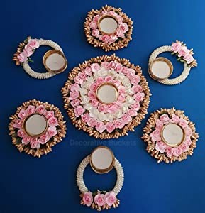 DECORATIVE BUCKETS Handmade Tea Light Holders Set of 7 Rangoli Candle Holders Diwali Decorations onam pongal Rangoli Floor Decorations Diwali diyas Diwali Lights Diwali Candles  pongal Decorations