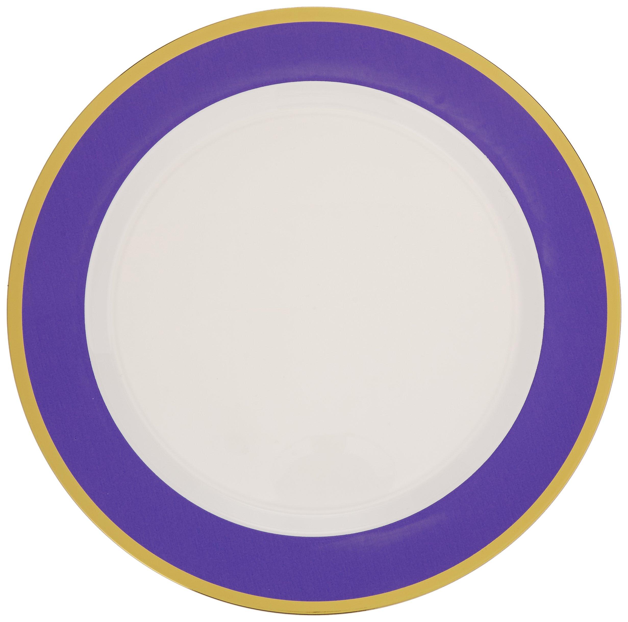 """Amscan Premium 6 Packs Per Case Plastic Round Plates Border (Count), New Purple, 10 1/4"""""""