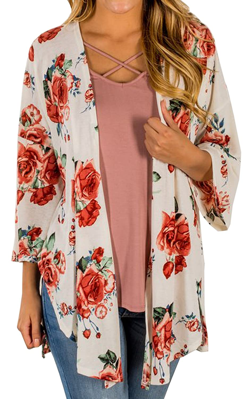 K3 Hiblueco Women's Casual Long Sleeve Floral Printed Open Cardigan Jacket Outwear