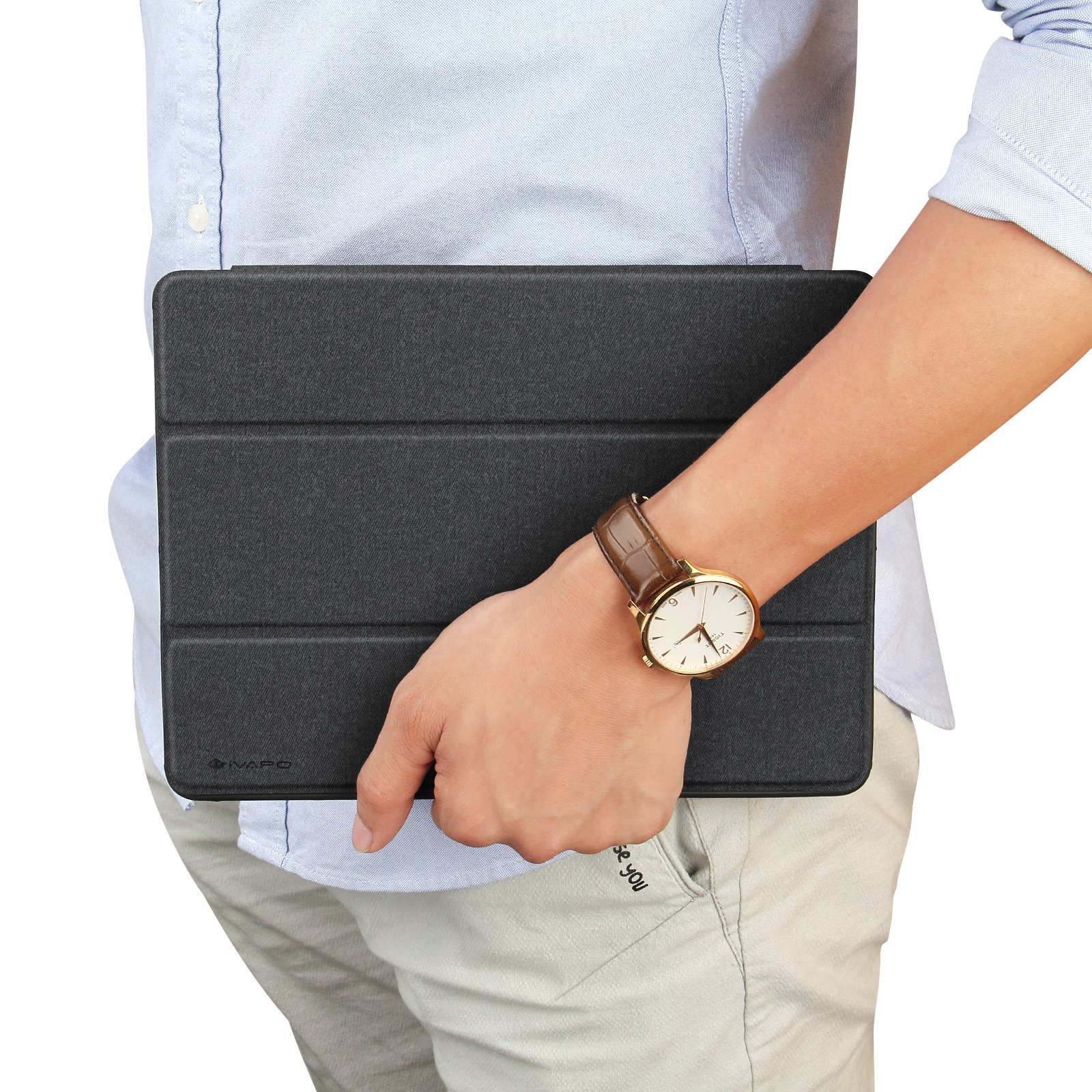iVAPO iPad Pro 10.5 Case Pencil Holder Auto Sleep Wake Function Typing Viewing Tri-fold Stand PU Leather Smart Cover for iPad Pro 10.5 inch 2017 Black Denim Leather by iVAPO (Image #10)