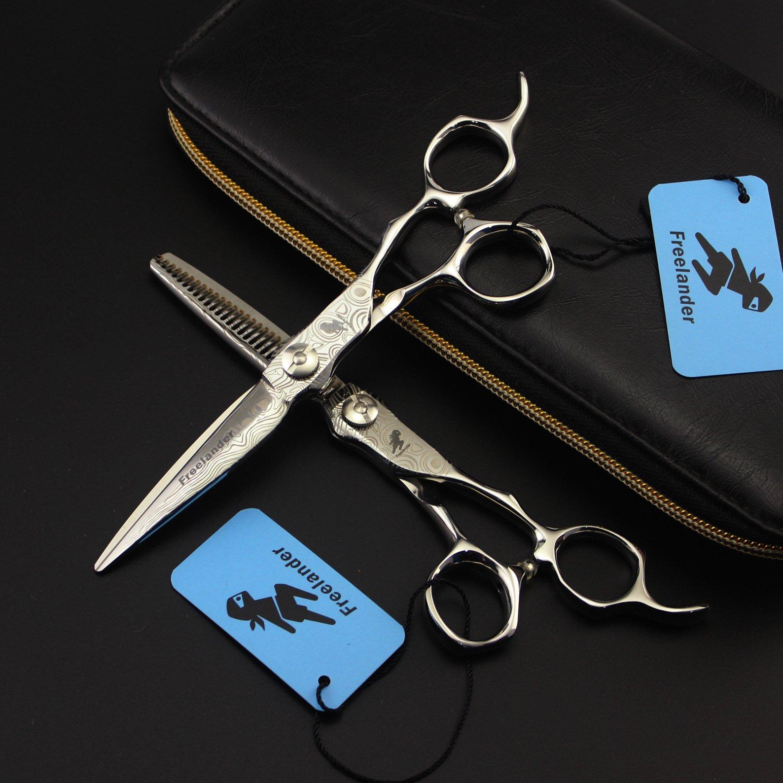 Professional Right Hand Hair Cutting Scissors Set,Barber Hair Shears Razor Edge Hairdressing Tools,Hair Cutting/Thinning Scissors Japanese Damascus Steel