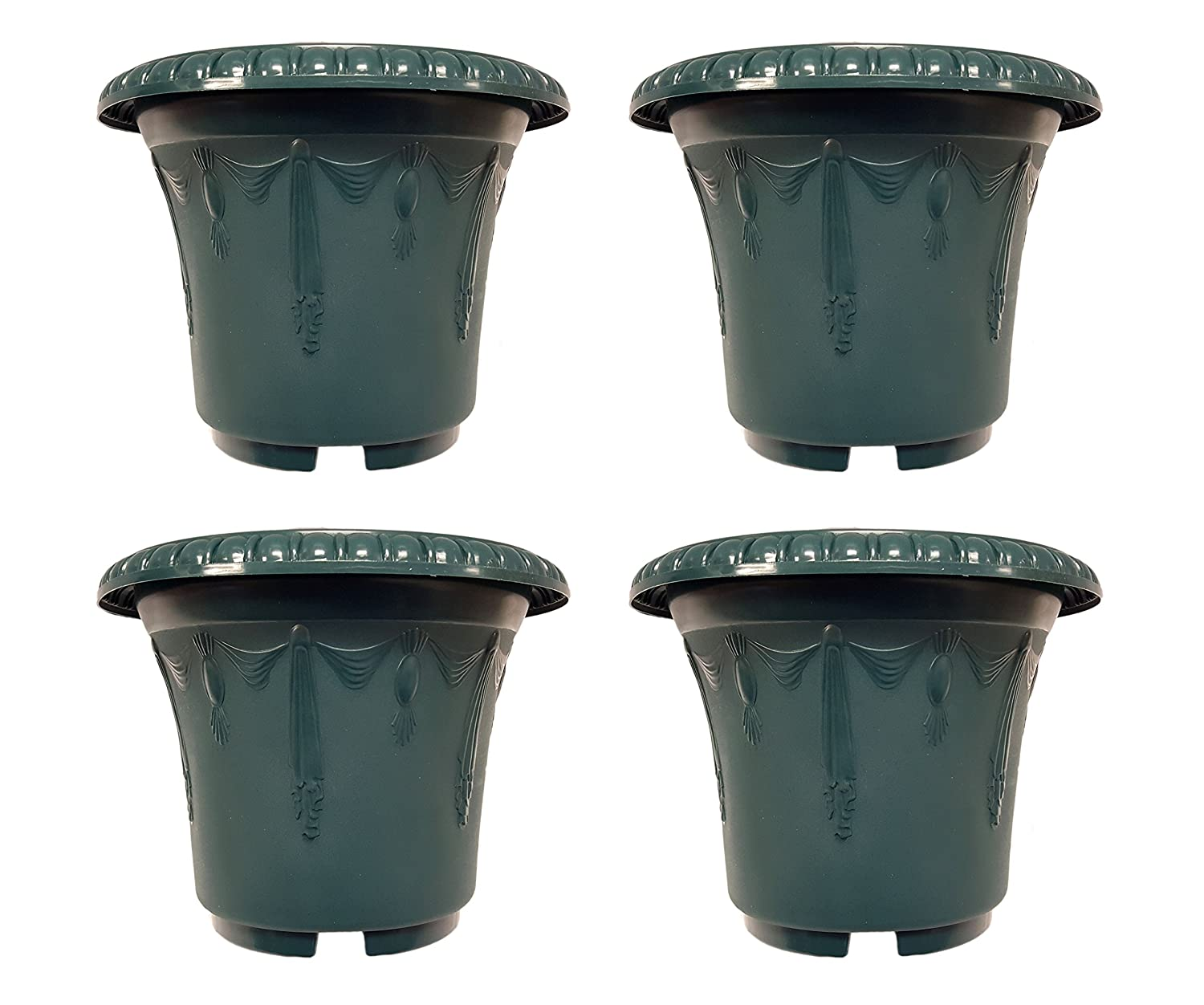 Set of 4 Round Emboss Draping Decorative 9.5 x 7.5 Planters Pots Green