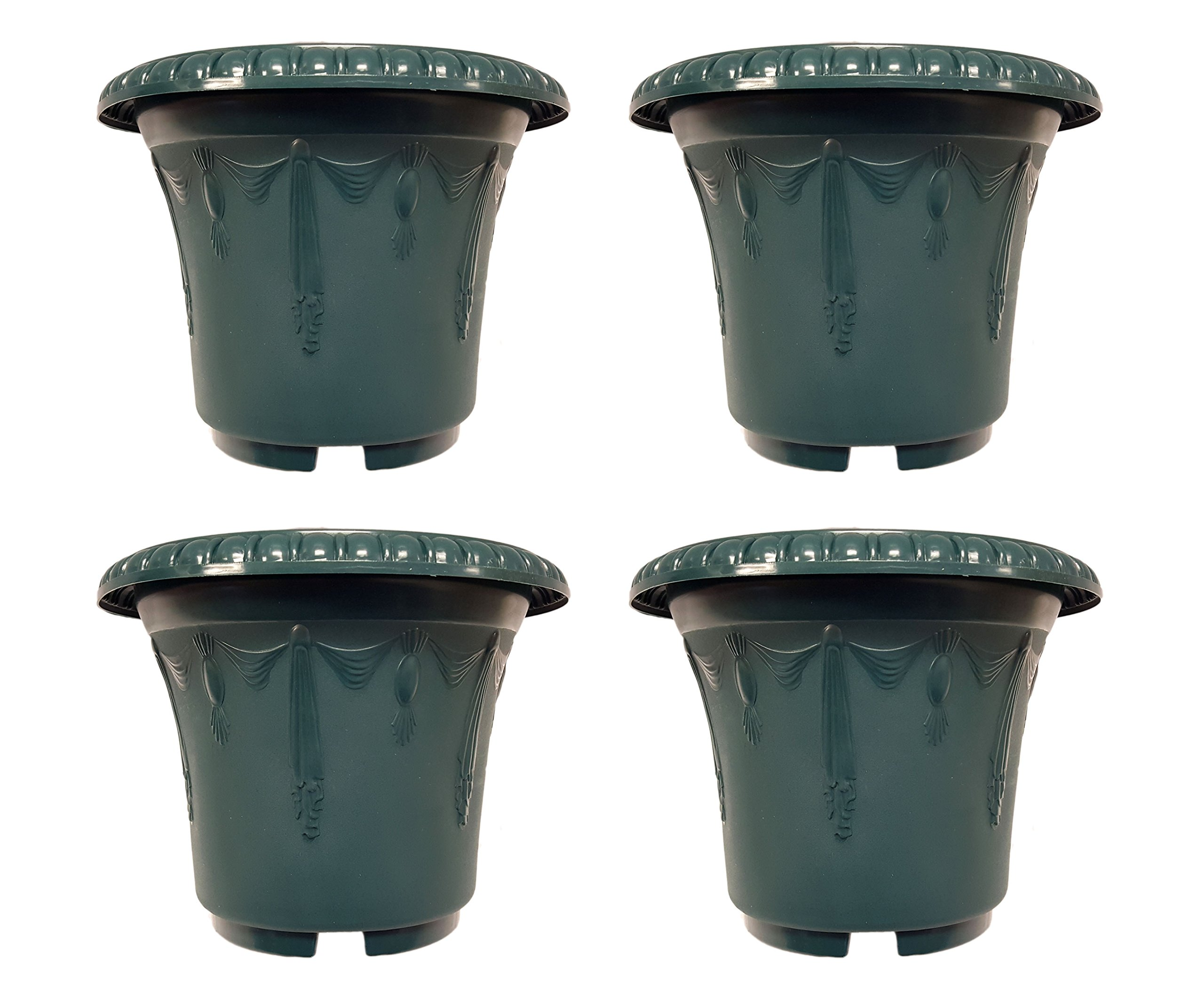 "Set of 4 Round Emboss Draping Decorative 9.5"" x 7.5"" Planters / Pots (Green)"