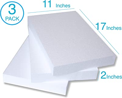 Silverlake Craft Foam Block - 3 Pack of 11x17x2 EPS Polystyrene Blocks for Crafting, Modeling, Art Projects and Floral Arrangements - Sculpting Sheets for...