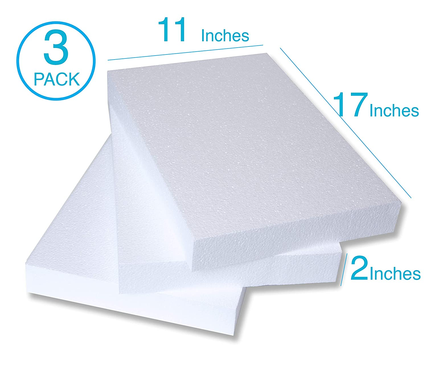 Large Craft Foam Block Art Projects and Floral Arrangements Modeling 3 Pack of 11x17x2 EPS Polystyrene Styrofoam Blocks for Crafting Large Sculpting Sheets for DIY School /& Home Art Projects
