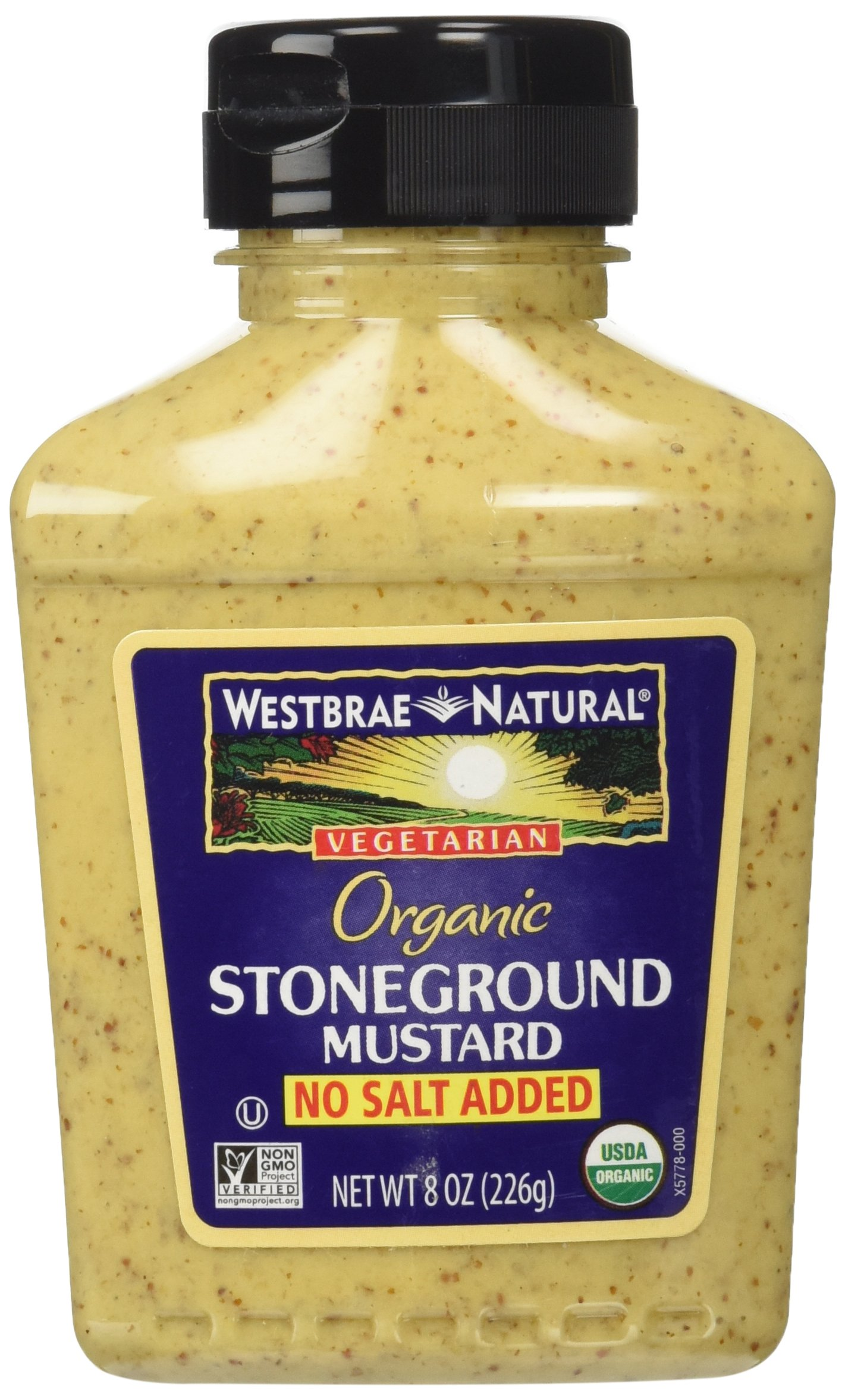 Westbrae Mustard Stone Ground No Salt 8.0 OZ