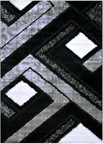 Grey Black White Contemporary Modern Geometric Abstract Design Shaggy Shag Area Rug Royal Collection 6011 Grey, 3 x5