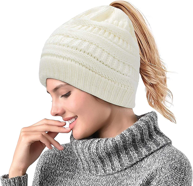 Supstar Otoño e Invierno Cálido Gorro de Lana de Punto Suave elástico para Mujer, con Agujero para coleta,diseño de Cola de Caballo Sombrero de Punto